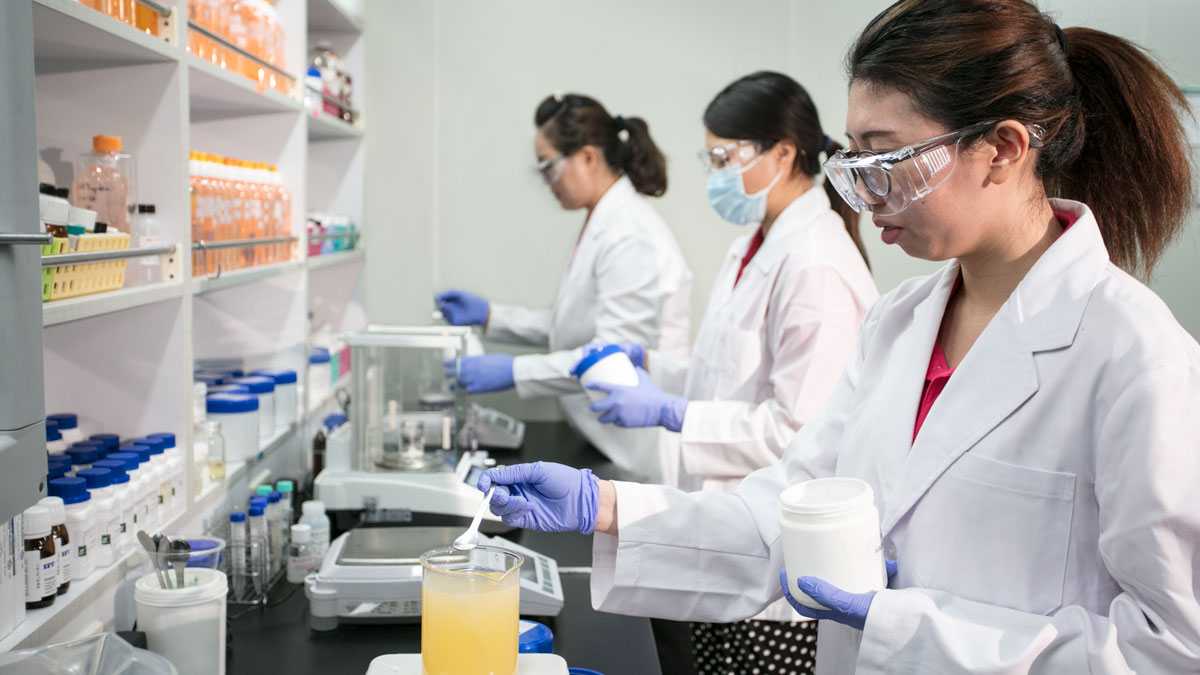 R&D Department staff performing quality tests on sample cosmetics